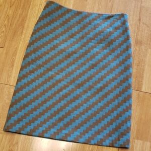 J Crew teal and brown a line wool skirt sz 6